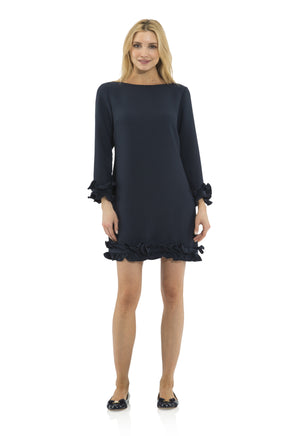 Poly Crepe Double Ruffle Dress Navy
