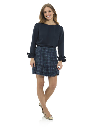 Poly Crepe Double Ruffle Top Navy