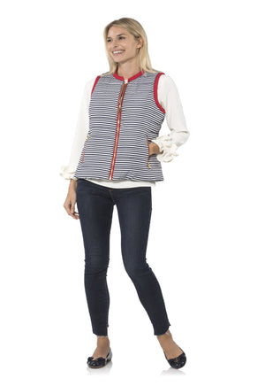 Short Quilted Vest Navy/White