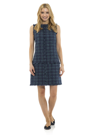 Plaid Tweed Sleeveless Shift Dress