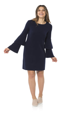 Cashmere/Wool Double Bell Sleeve Dress Navy