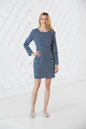 Stripe Long Sleeve Button Neck Dress