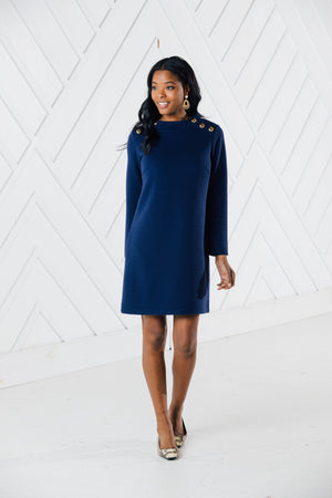 Linear Textured Mock Neck Dress (Two Colors)