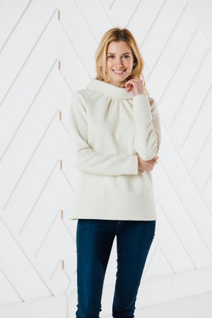 Linear Textured Long Sleeve Button Back Top (Two Colors)
