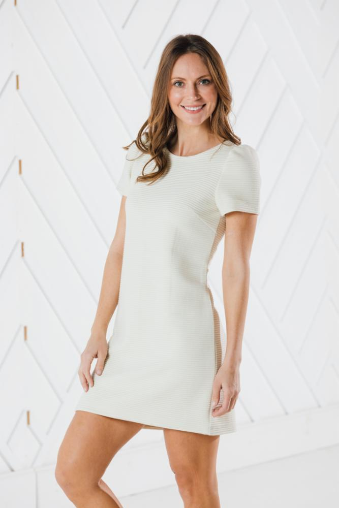 Linear Textured Short Sleeve Dress (Two Colors)
