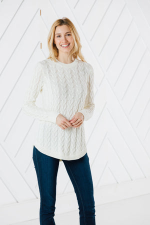 Crew Neck Round Hem Sweater (Two Colors)