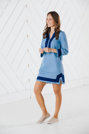 Long Sleeve Chambray Classic Tunic Dress