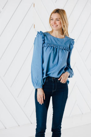 Chambray Ruffle Front Top