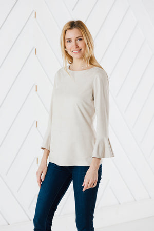 Faux Suede Flutter Sleeve Top (Two Colors)