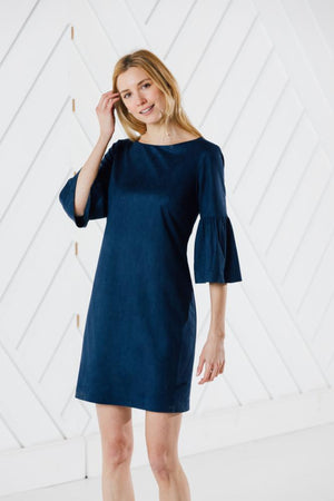 Faux Suede Bell Sleeve Dress (Two Colors)