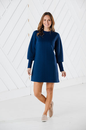 Rope Textured Long Sleeve Dress