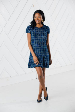 Navy Tweed Short Sleeve Boxpleat Dress