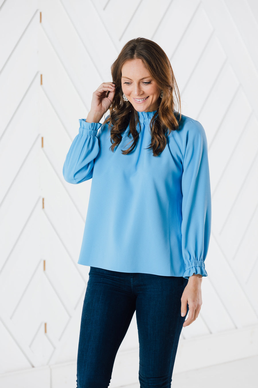 Textured Ruffle Neck Top (Two Colors)