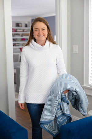 White Cowl Neck Pullover