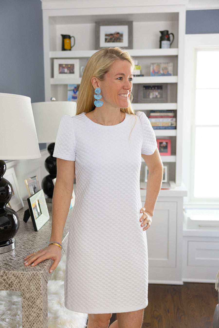 White Short Sleeve Dress