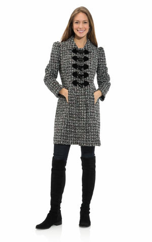 Chenille Tweed Toggle Front Coat