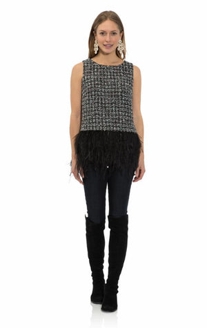 Chenille Tweed Feather Hem Top