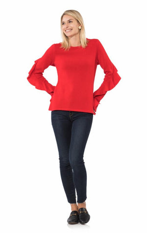 Ruffle Sleeve Sweater Red