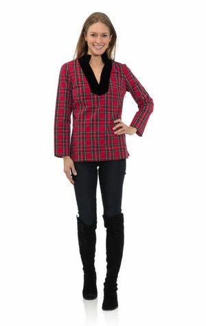Plaid Shirting Tunic Top