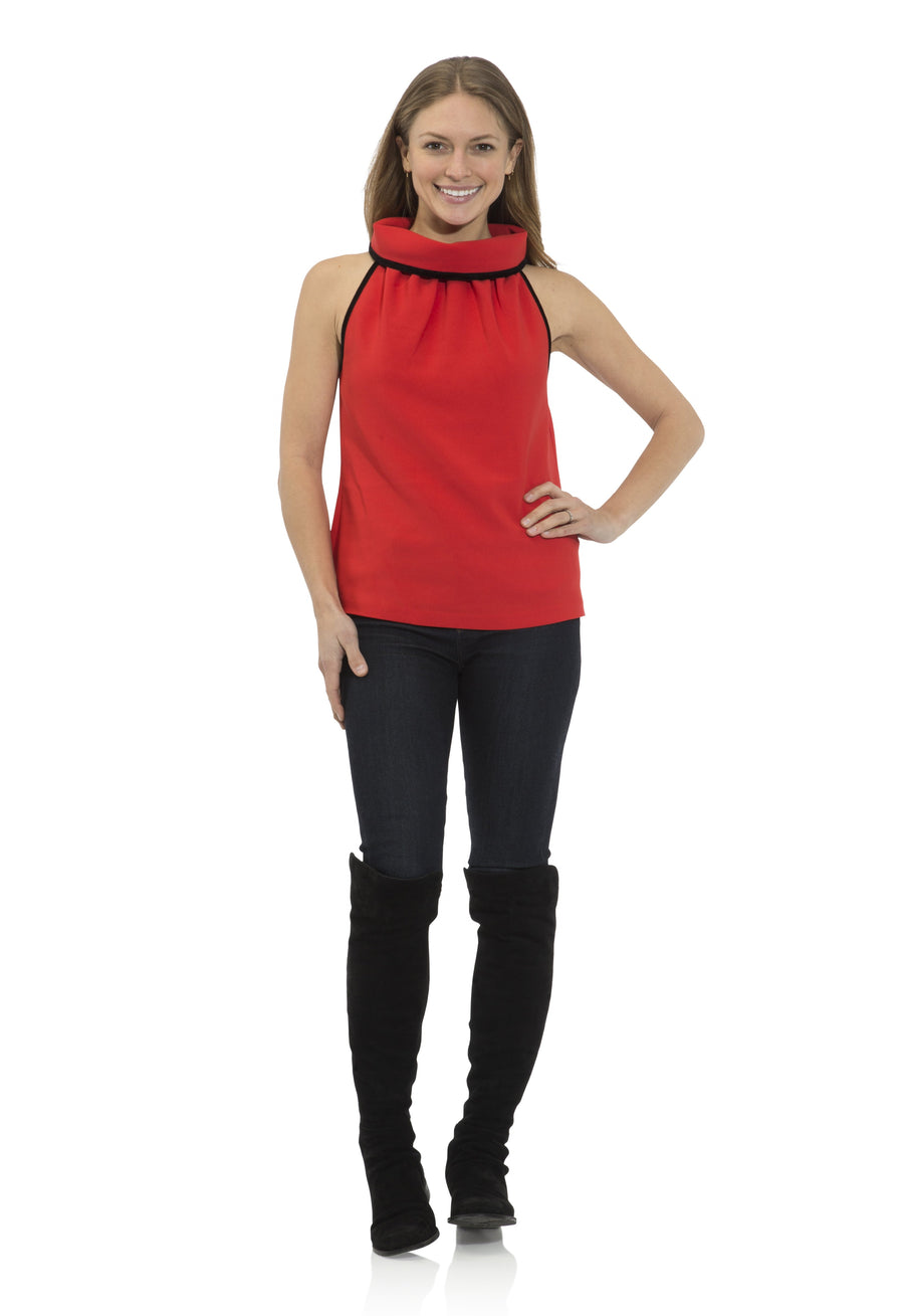 Poly Crepe Cowl Neck Top Red