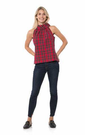 Plaid Shirting Cowl Neck Top
