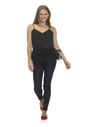 Taffeta Feather Trim Tank Top