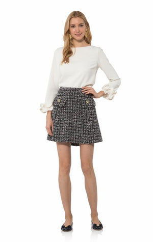 Chenille Tweed Button Front Skirt