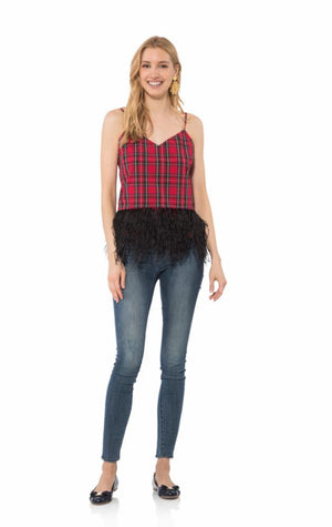 Plaid Shirting Feather Hem Top