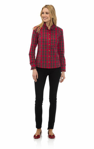 Plaid Shirting Ruffle Trim Button Top