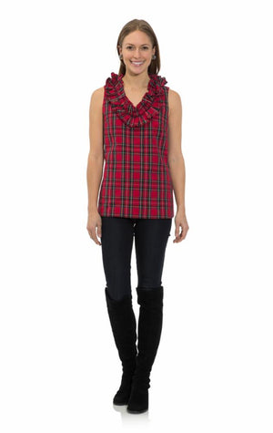 Plaid Shirting Ruffle Neck Sleeveless Top