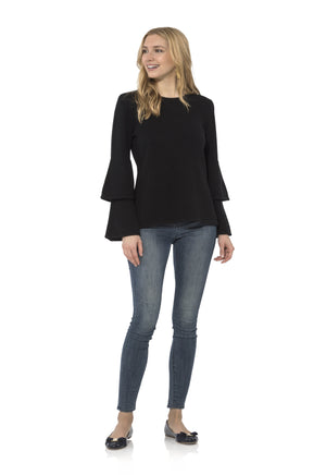 Double Bell Sleeve Sweater Black