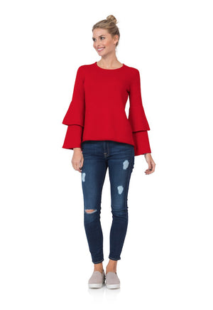 Double Bell Sleeve Sweater Red
