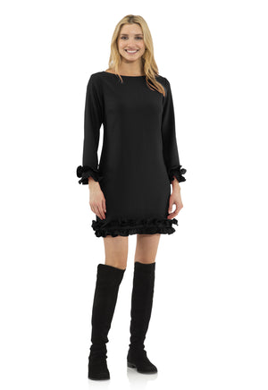 Poly Crepe Double Ruffle Dress Black
