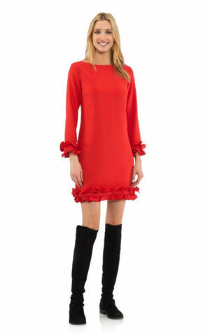 Poly Crepe Double Ruffle Dress Red