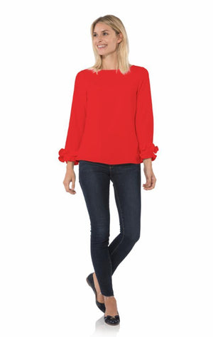 Poly Crepe Double Ruffle Top Red
