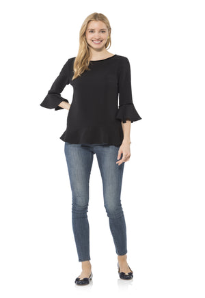 Poly Crepe Ruffle Hem Top Black
