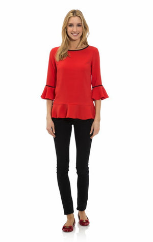 Poly Crepe Ruffle Hem Top Red