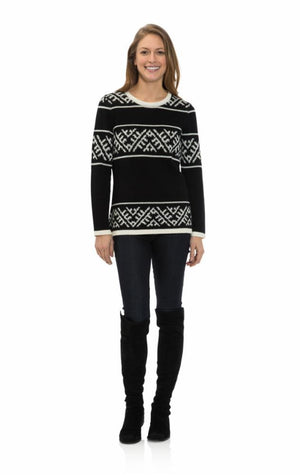 Fair Isle Stripe Sweater Black