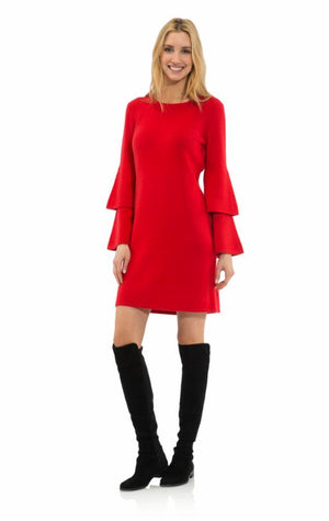 Double Bell Sleeve Dress Red