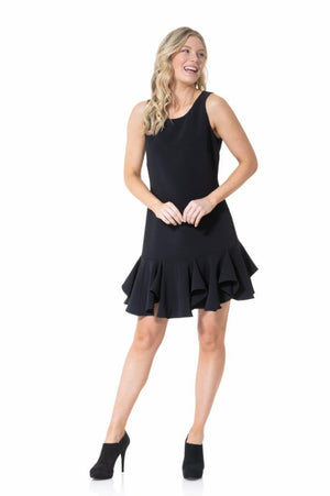 Poly Crepe Sleeveless Flounce Hem Dress