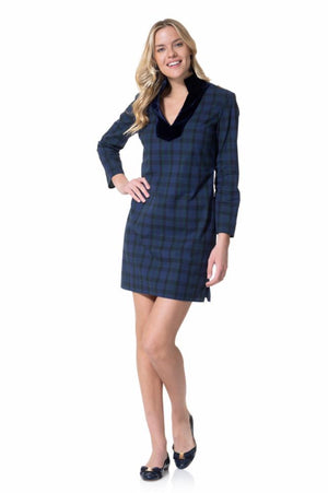 Stretch Cotton Plaid Tunic Dress Navy