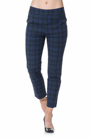 Stretch Cotton Plaid Pants Navy