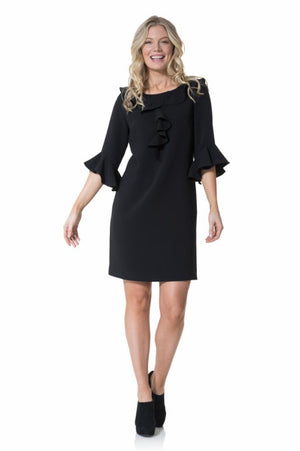 Poly Crepe Ruffle Front Dress
