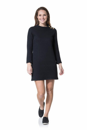 Dot Textured Knit Long Sleeve Button Neck Dress