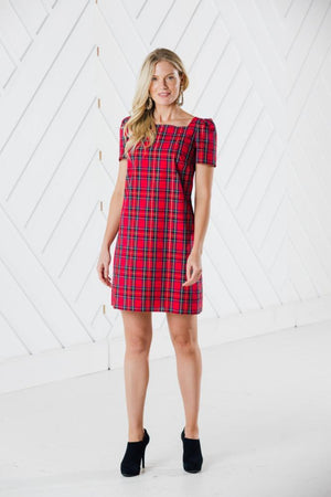 Red Plaid Short Sleeve Dress