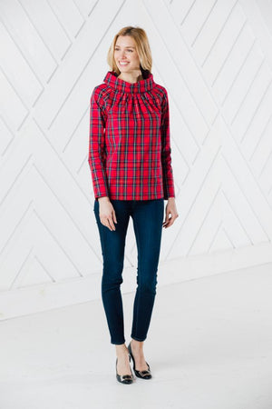Red Plaid Long Sleeve Button Back Top