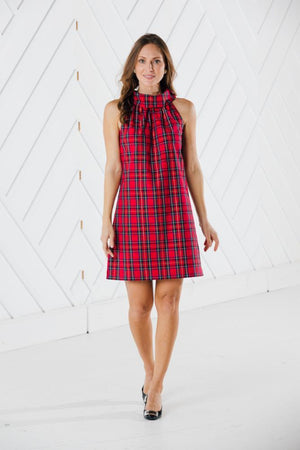 Red Plaid Cowl Neck Dress