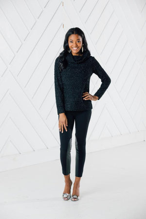 Sparkle Knit Cowl Neck Pullover