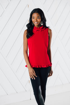 Sleeveless Double Ruffle Top (Two Colors)