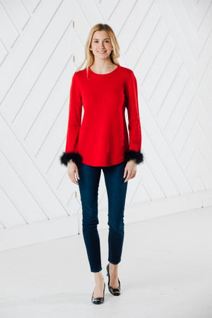 Long Sleeve Round Hem Sweater with Faux Fur (Two Colors)